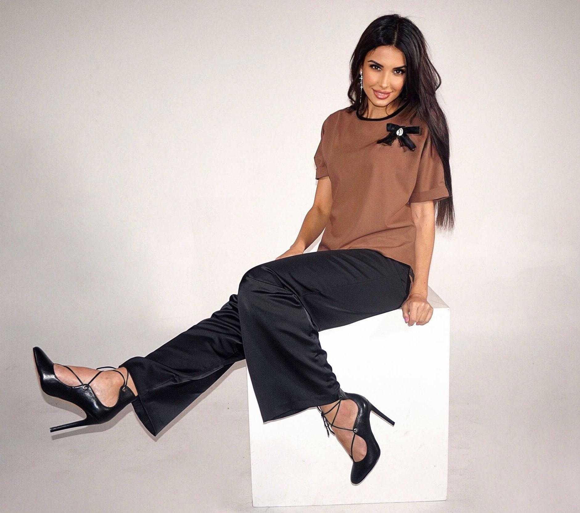 брюки атласные женские