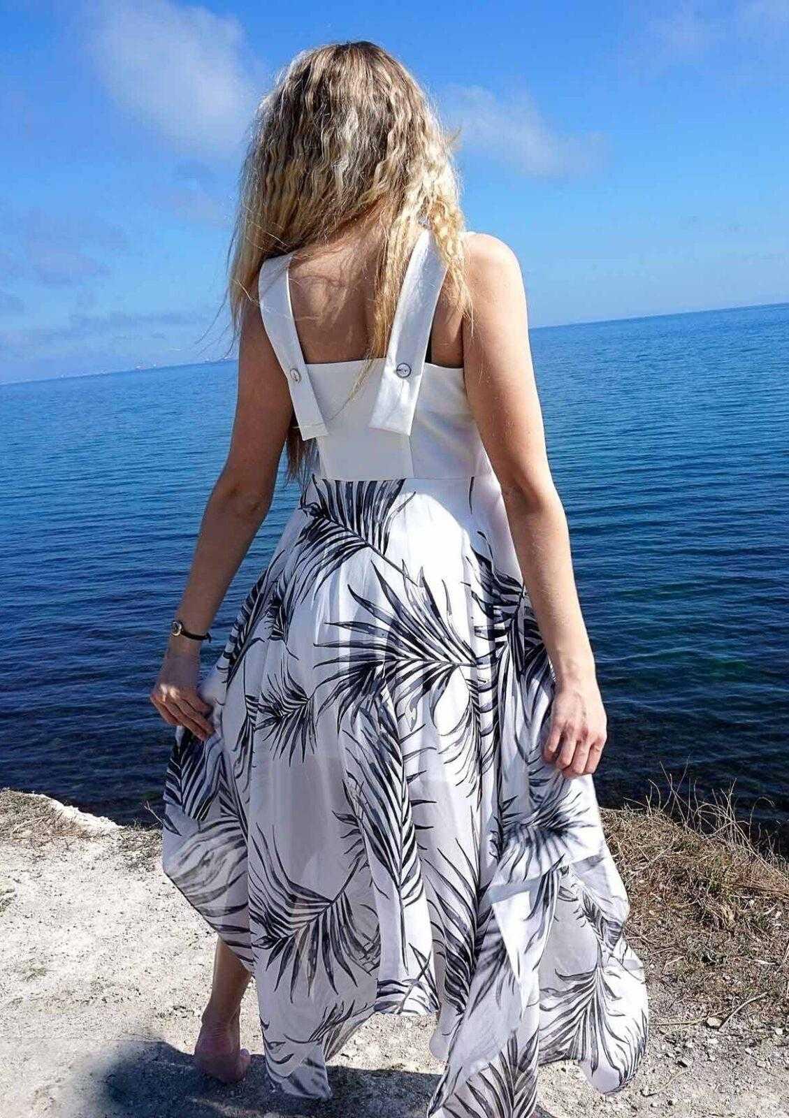 белое длинное летнее платье