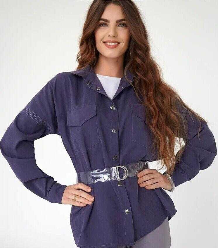 фиолетовая рубашка женская купить