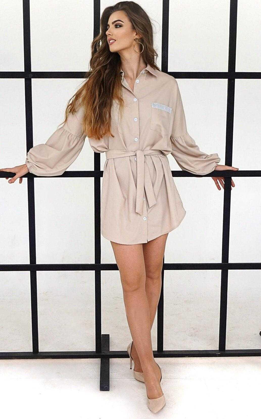 бежевое платье рубашка с поясом