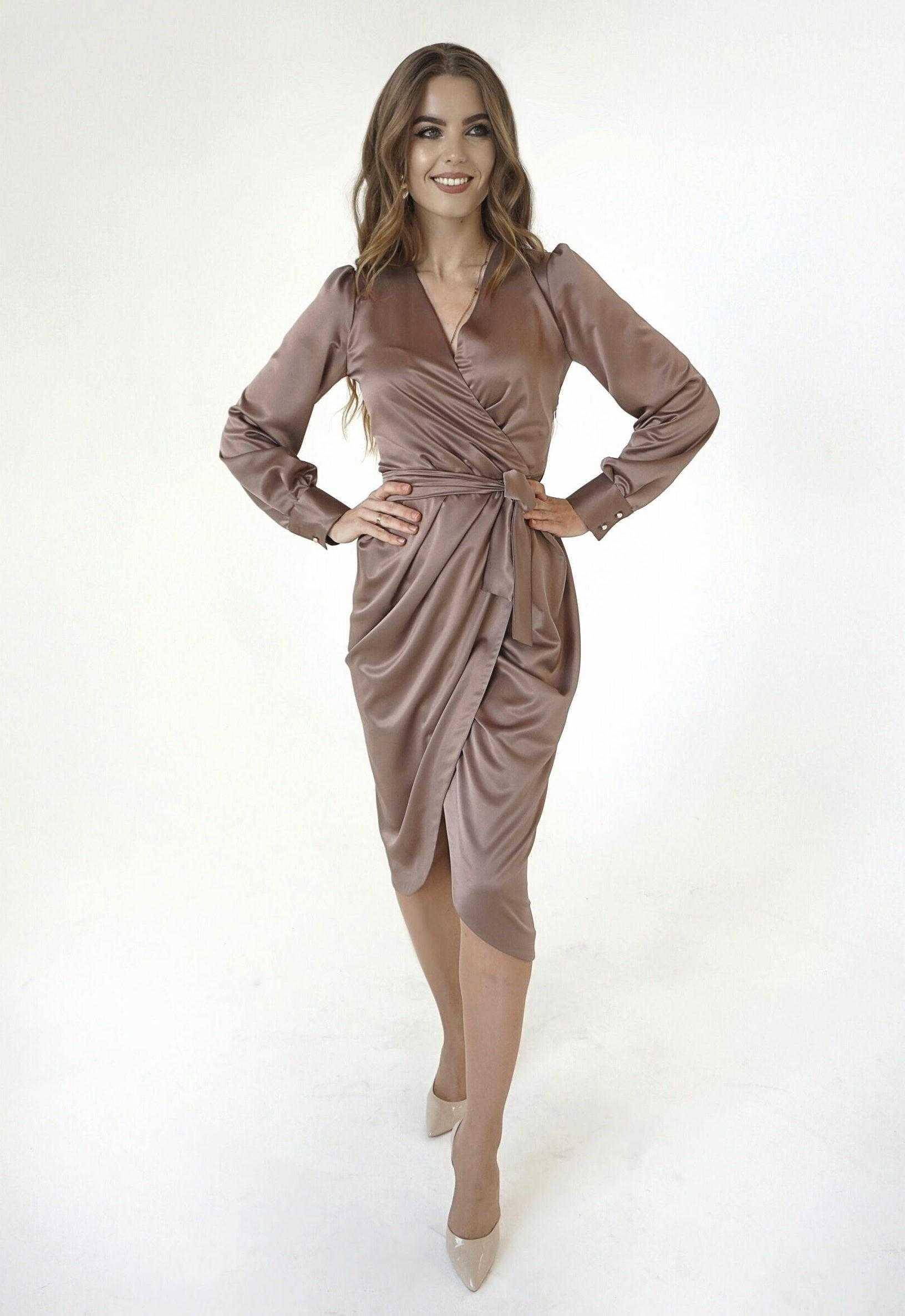 платье из качественного шелка, платье миди длинна, платье шелковое на запах