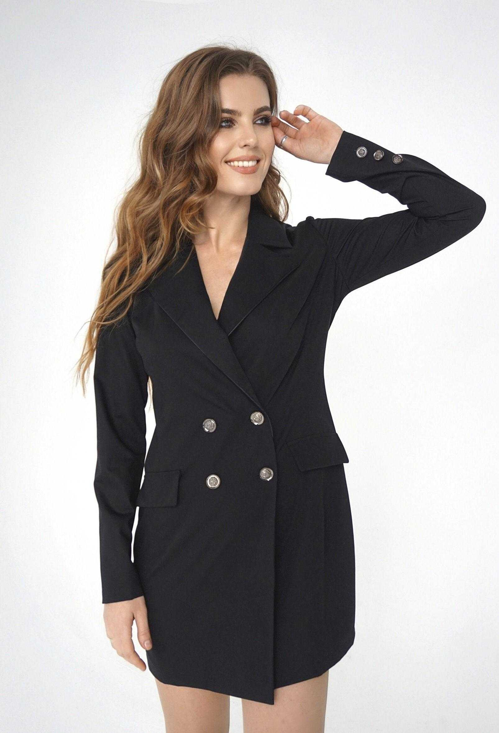 черное платье пиджак образы