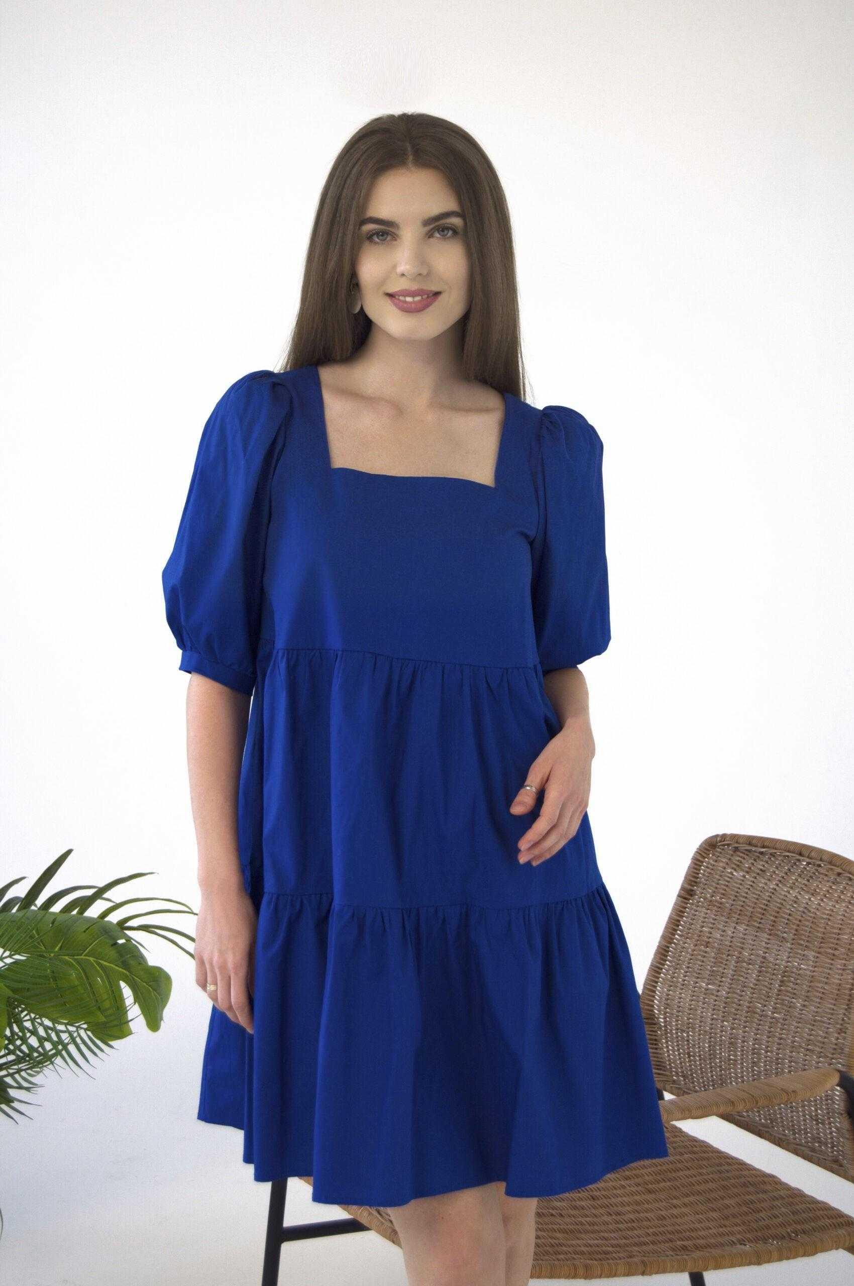 Платье из хлопка синее