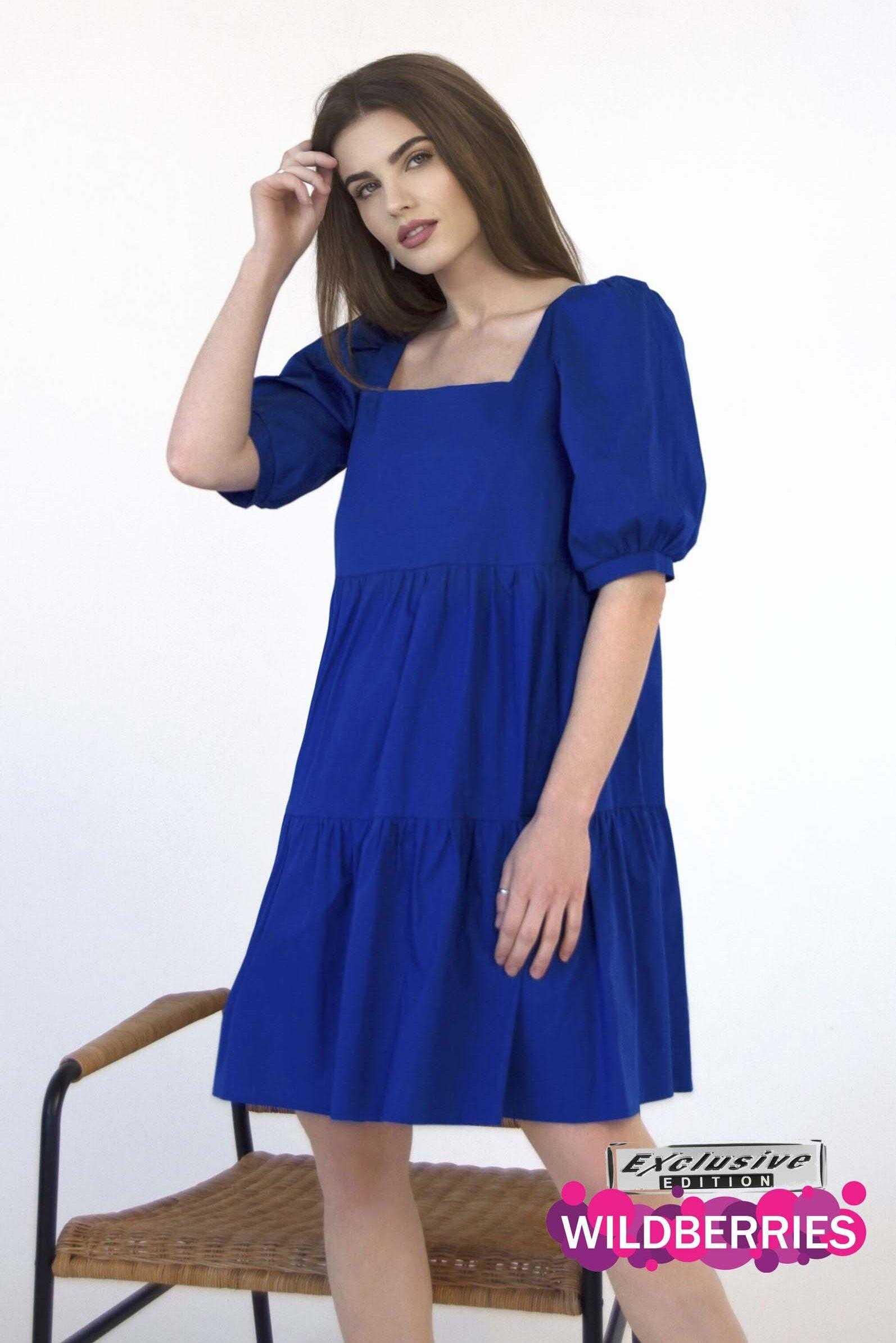 Платье из хлопка синее (артикул ml 113)