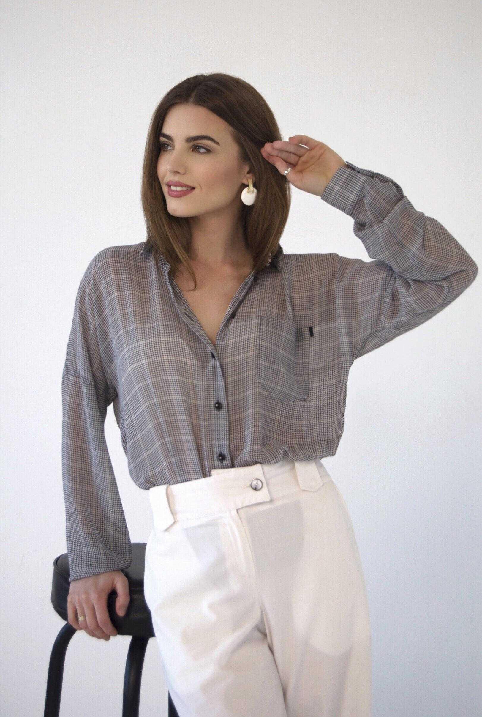 Женская рубашка гусиная лапка