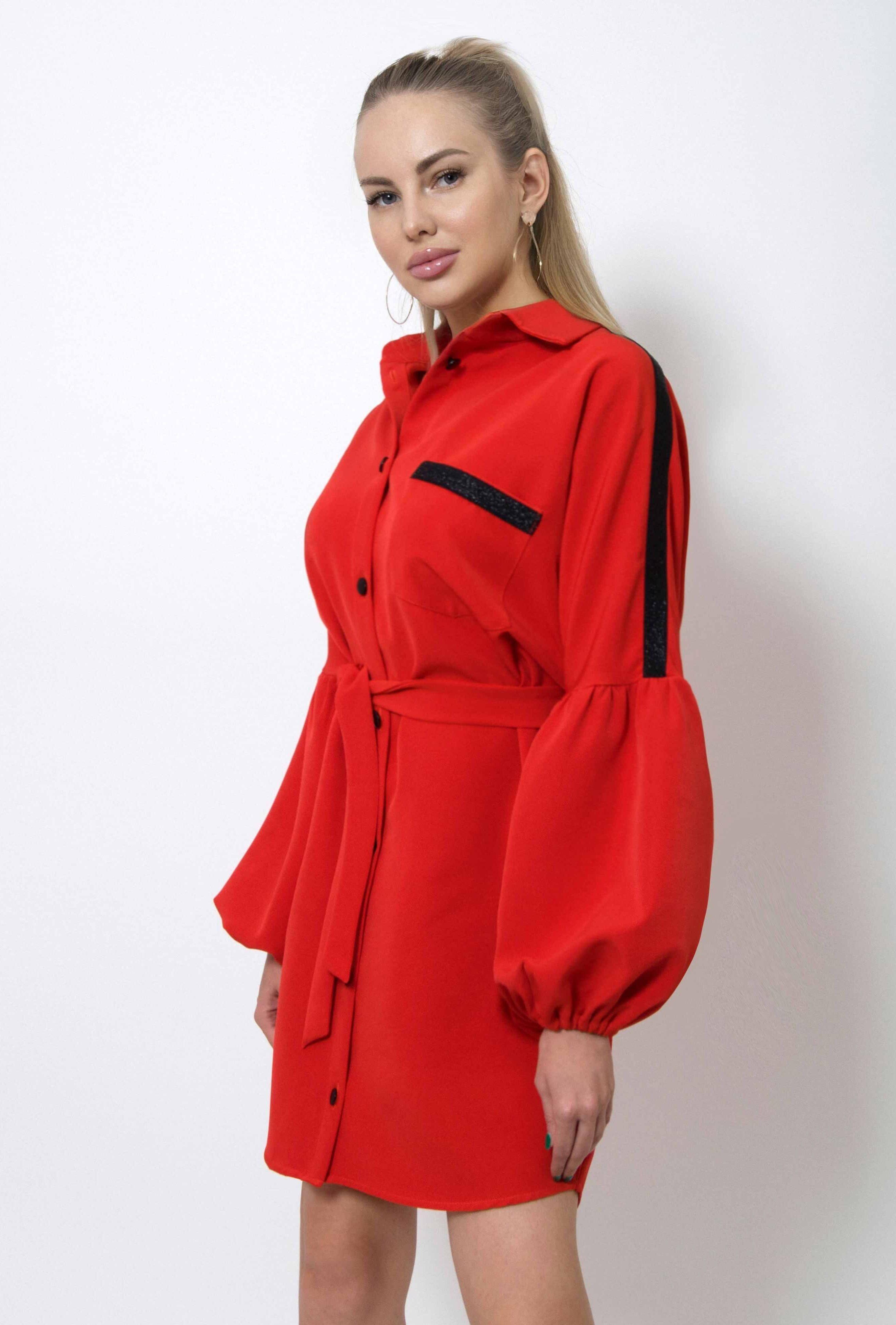 Красное платье рубашка (артикул ml 06/2)