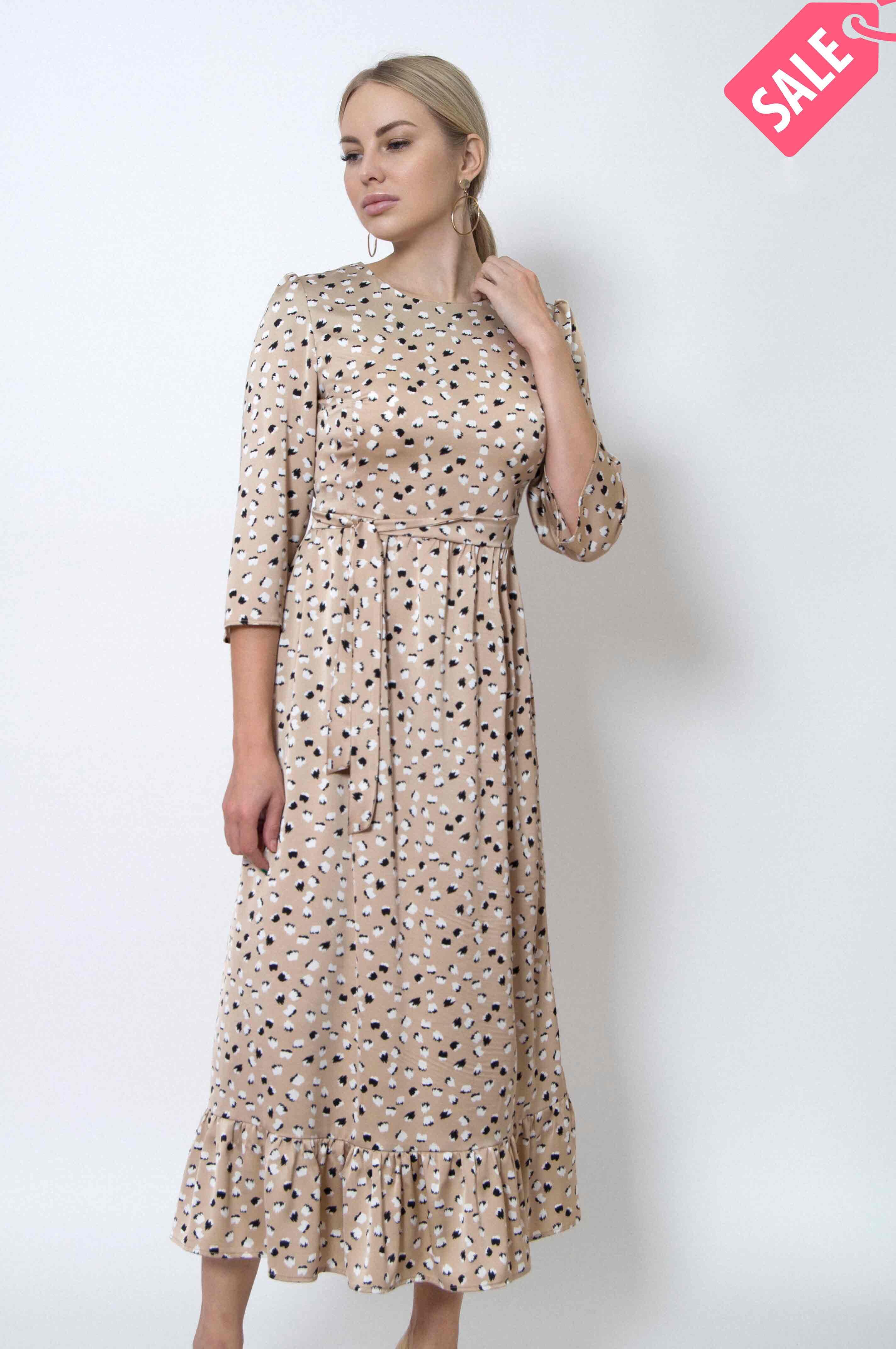 платье бежевое из шелка