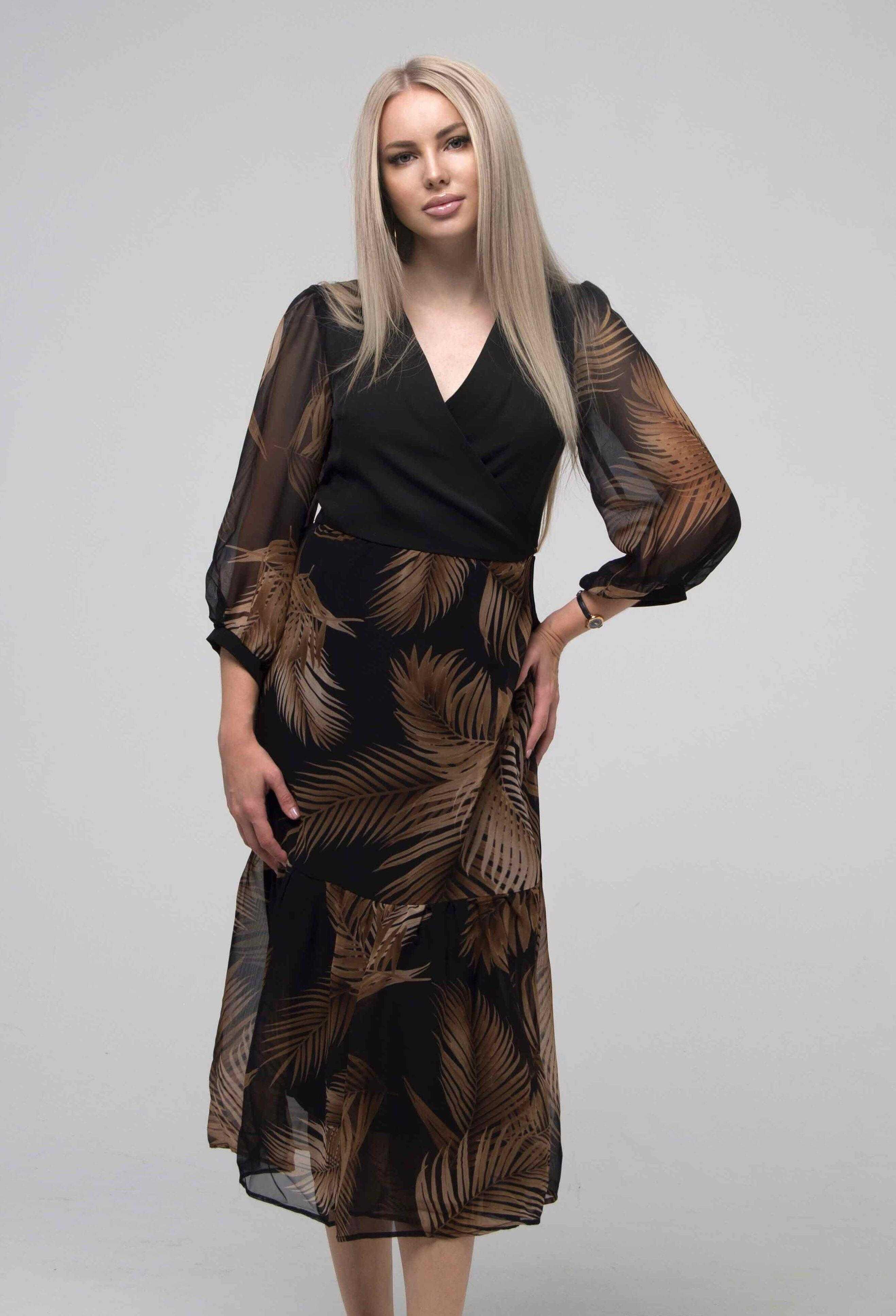 платье миди шифон